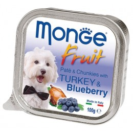 MONGE DOG FRUIT паштет для собак с индейкой и черникой